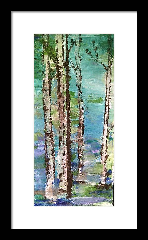 Landscape Framed Print featuring the painting Aspen Spring Trees by Katie McGuire