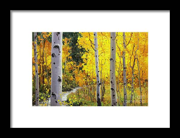 Aspen Stream Over Aspen Mountains Landscape Scenic Nature Fall Sky Aspen Trees Fall Foliage Framed Print featuring the painting Aspen Stream by Gary Kim
