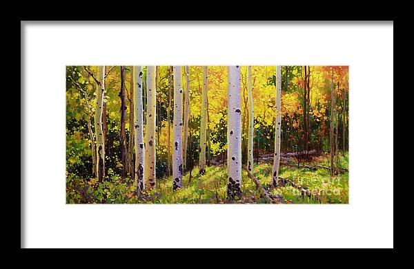 Aspen Forest Tree Framed Print featuring the painting Aspen Symphony by Gary Kim