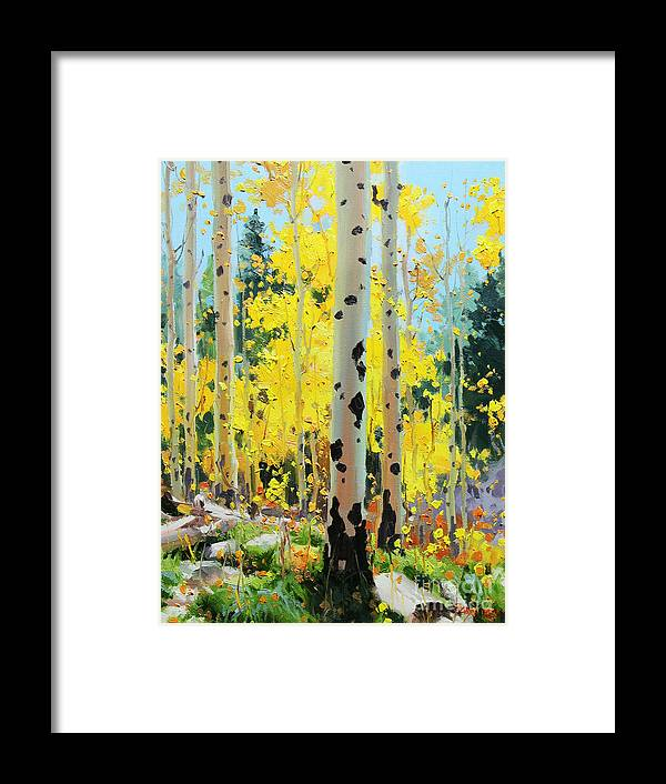 Oil Canvas Prints Contemporary Original Aspen Tree Landscape Painting Giclee Fine Art Print Paper Santa Fe Famous Architecture Magical Rocky Mountains Fine Art Prints Gary Kim New Mexico Framed Acrylic Metal Phone Cases Iphone Galaxy Greeting Cards Posters Originals Fall Aspen Panorama Aspen Grove Panorama Colors Sunset Panoramic Vistas Valley Fall Hiking Trails Colorado Forest Autumn Foliage Trunks National Forest Small Birch Trees Panorama Oil Painting Photo Sunset Fields Flowers Scene Metal Framed Print featuring the painting Aspens in Golden Light by Gary Kim