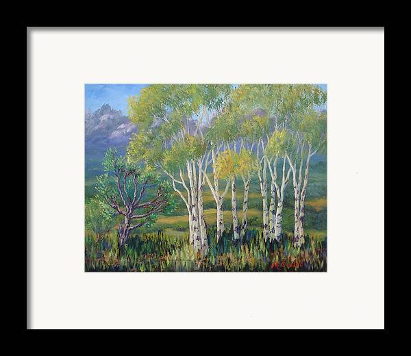 Landscape Framed Print featuring the painting Aspens In The Rockies by Maxine Ouellet