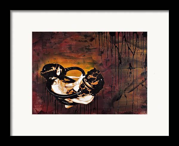 Created With Acrylic Framed Print featuring the painting Asphyxiation By Oil Dependency by Tai Taeoalii