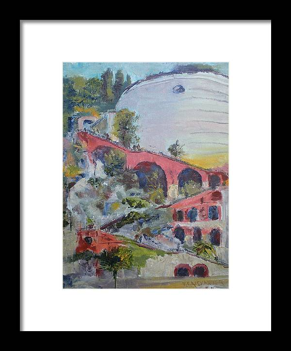 Historical Stairway To The Fort Chateau In The Port Of Nice Framed Print featuring the painting Assenseur Du Chateau by Bryan Alexander