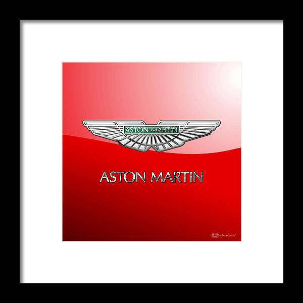 Wheels Of Fortune� Collection By Serge Averbukh Framed Print featuring the photograph Aston Martin - 3 D Badge on Red by Serge Averbukh