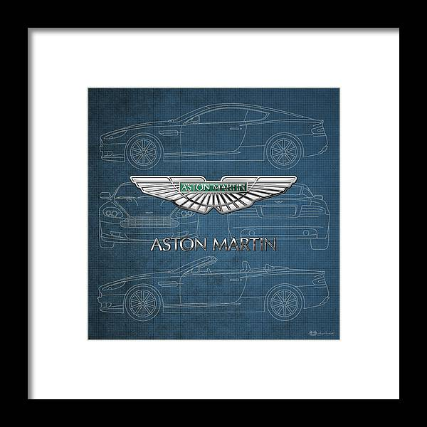 Wheels Of Fortune By Serge Averbukh Framed Print featuring the photograph Aston Martin 3 D Badge over Aston Martin D B 9 Blueprint by Serge Averbukh