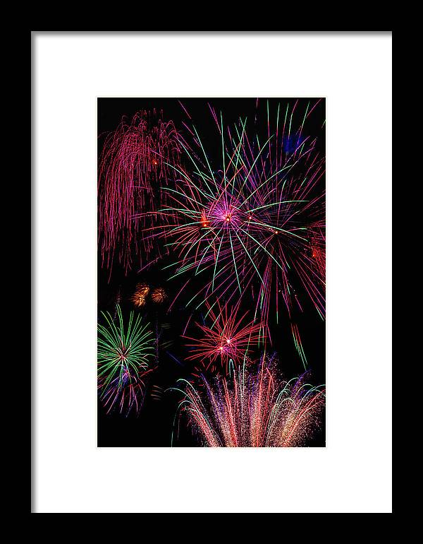 Dazzling Framed Print featuring the photograph Astonishing Fireworks by Garry Gay
