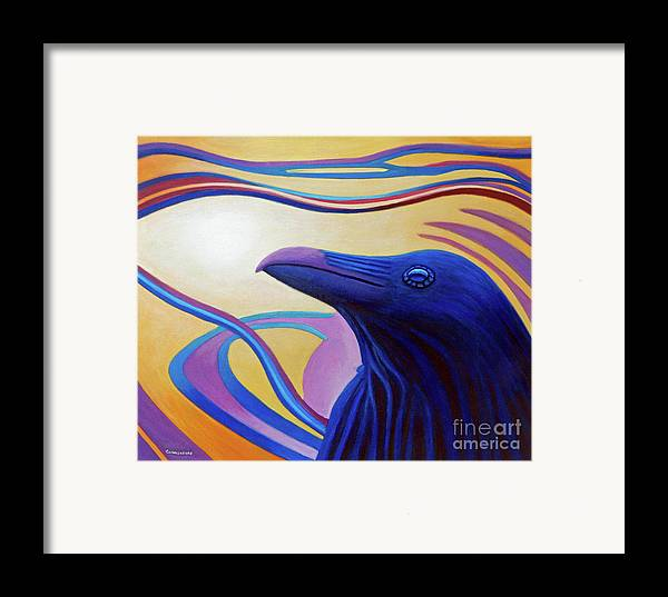 Raven Framed Print featuring the painting Astral Raven by Brian Commerford