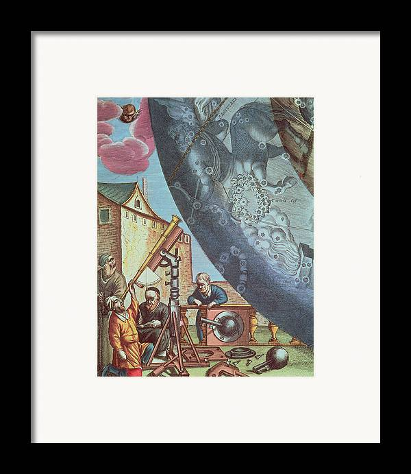 Astronomers Framed Print featuring the painting Astronomers Looking Through A Telescope by Andreas Cellarius