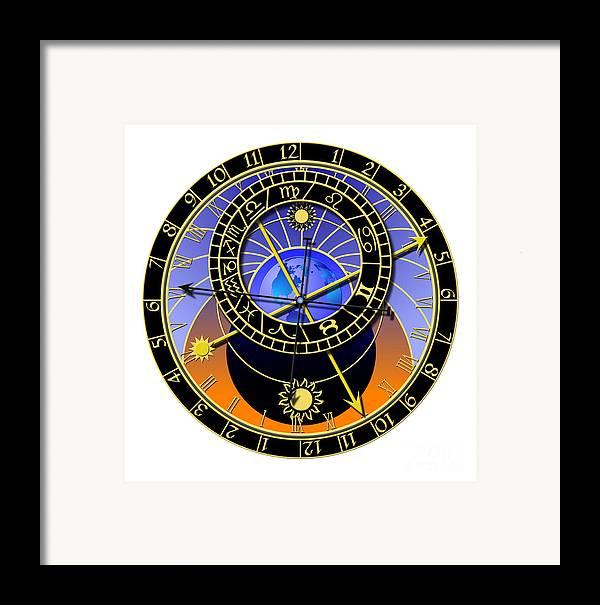 Abstruse Framed Print featuring the digital art Astronomical Clock by Michal Boubin