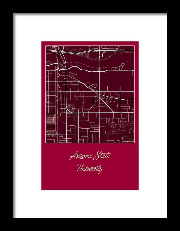 Map Of Arizona State University.Asu Street Map Arizona State University Tempe Map Framed Print By