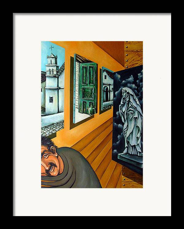 Surreal Framed Print featuring the painting Asylum by Valerie Vescovi