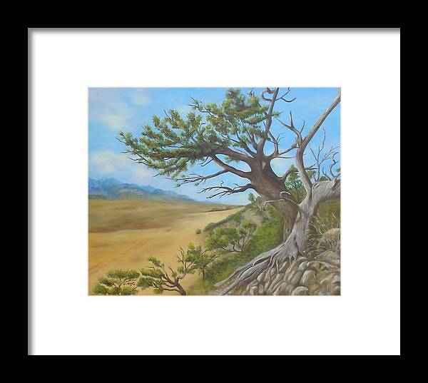 Landscape Framed Print featuring the painting At A Tangent by Merle Blair