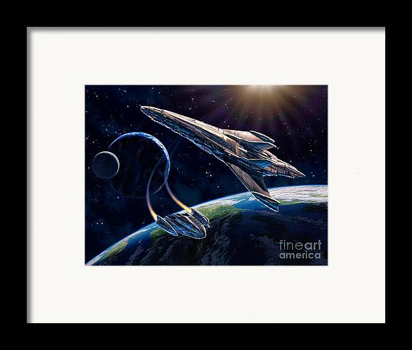 Space Ship Framed Print featuring the painting At Corealla by Stu Shepherd