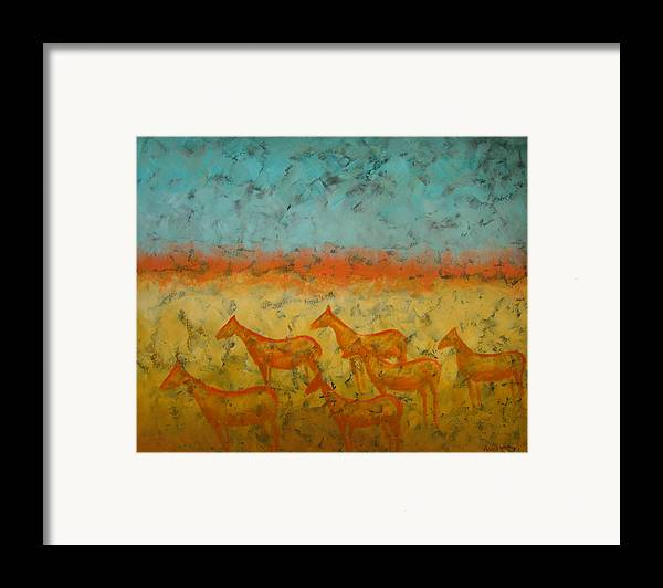 Landscape Framed Print featuring the painting At Dawn by Aliza Souleyeva-Alexander
