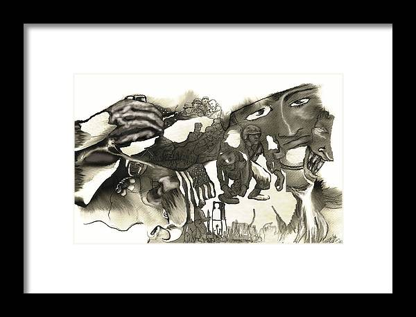 Military Framed Print featuring the drawing At Ease Never by Valera Ainsworth