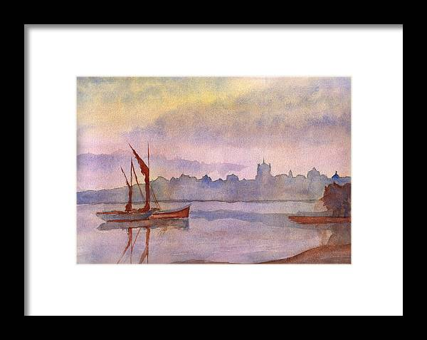Watercolor Framed Print featuring the painting At Harbor Venice by Lloyd Bast