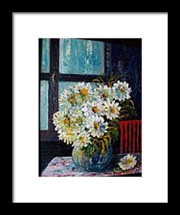 By The Window Framed Print featuring the painting At Home by Carol P Kingsley