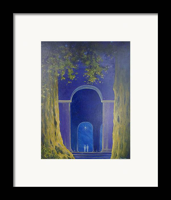 Landscape Framed Print featuring the painting At Night In The Temple by Georg Schedlbauer