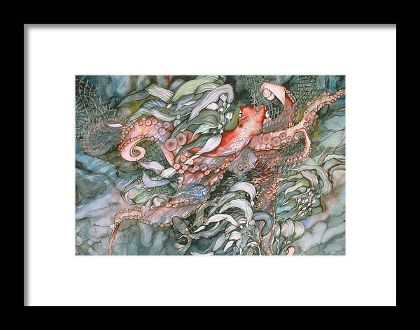 Octopus Framed Print featuring the painting At Play by Liduine Bekman