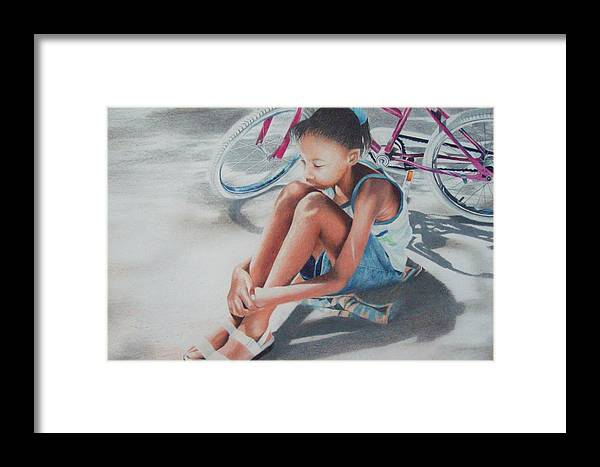 Figurative Framed Print featuring the drawing At Rest by Sylvester Hickmon