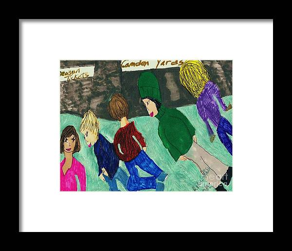 5 People At The Ballpark Before A Game. Framed Print featuring the mixed media At The Ballpark by Elinor Helen Rakowski
