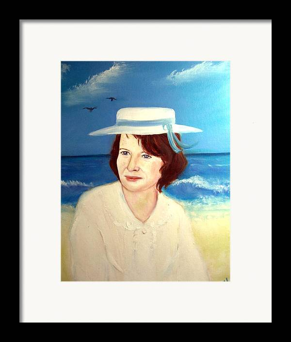 Landscape Framed Print featuring the painting At The Beach In Deauville by Michela Akers