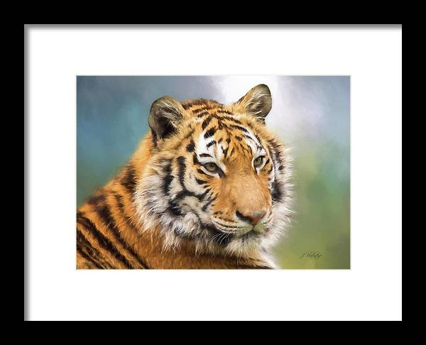 At The Center Framed Print featuring the painting At The Center - Tiger Art by Jordan Blackstone