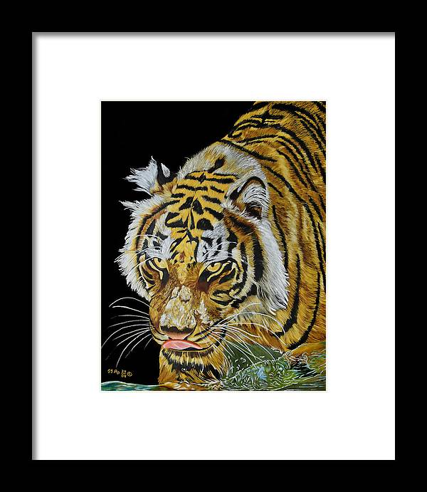 Tiger Framed Print featuring the painting At The Edge by Ada Astacio