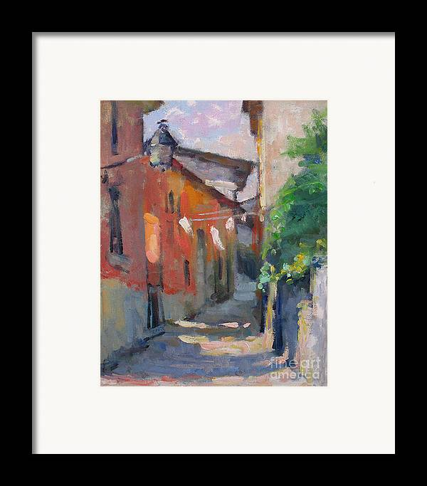 Plein-air Framed Print featuring the painting At The End Of The Alley by Jerry Fresia