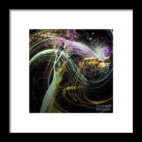 Fantasy Framed Print featuring the painting At The End of The Cosmos by Miki De Goodaboom