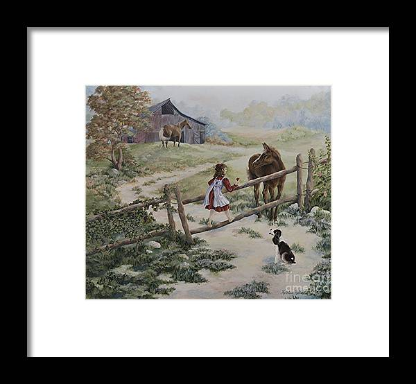 Farm Framed Print featuring the painting At the Farm by Kathleen Keller