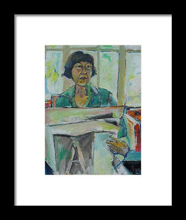 Portrait Framed Print featuring the mixed media At The Library by Noredin Morgan