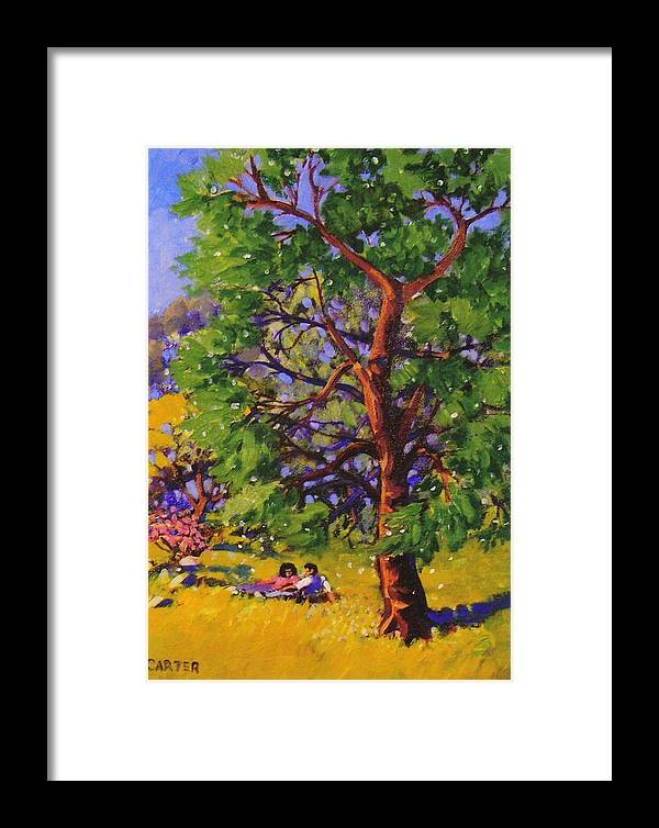 Trees Framed Print featuring the painting At The Park by Jonathan Carter