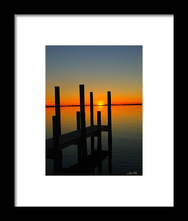 Sunset Framed Print featuring the photograph At The Pier by Judy Waller