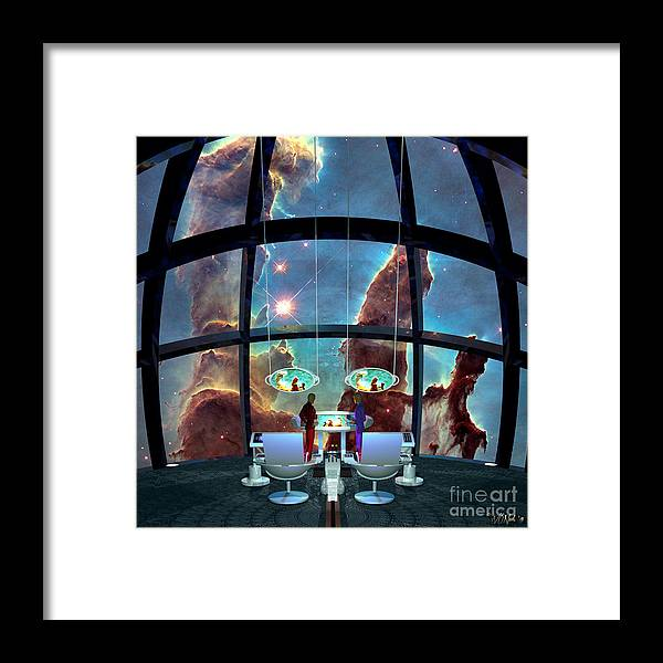 Science Fiction Framed Print featuring the digital art At The Pillars Of Creation by Walter Oliver Neal