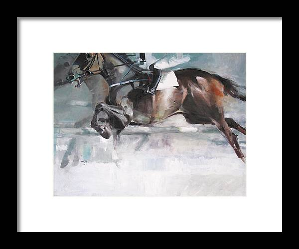 Horse Framed Print featuring the painting At The Races by Tony Belobrajdic