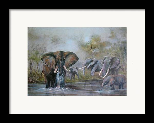 Wildlife Framed Print featuring the painting At The Waterhole by Rita Palm
