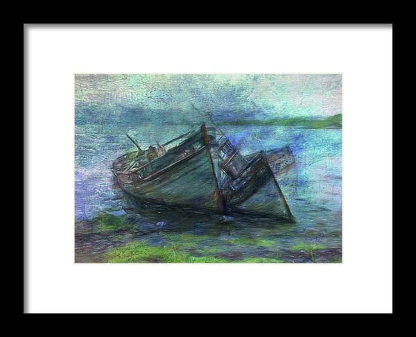 Rotting Hulls Framed Print featuring the digital art At The Water's Edge by Sarah Vernon