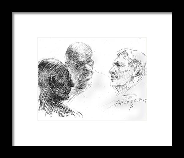 Sketch Framed Print featuring the drawing At Tim Hortons 2 by Ylli Haruni