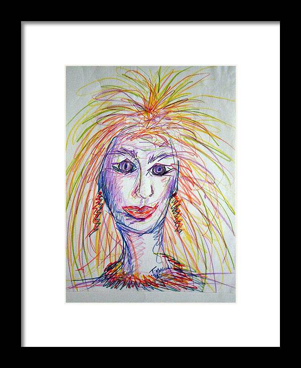 Self Portrait Framed Print featuring the drawing At Wits End by Tammera Malicki-Wong