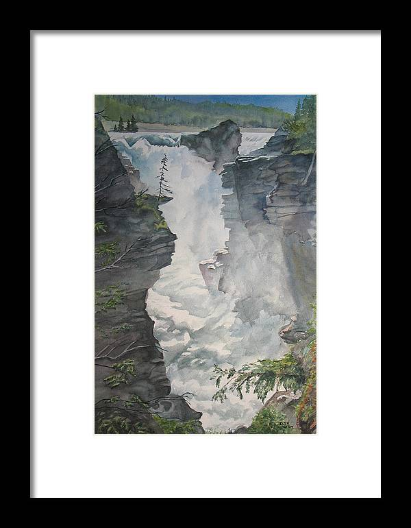 Athabasca Framed Print featuring the painting Athabasca Falls Alberta by Debbie Homewood