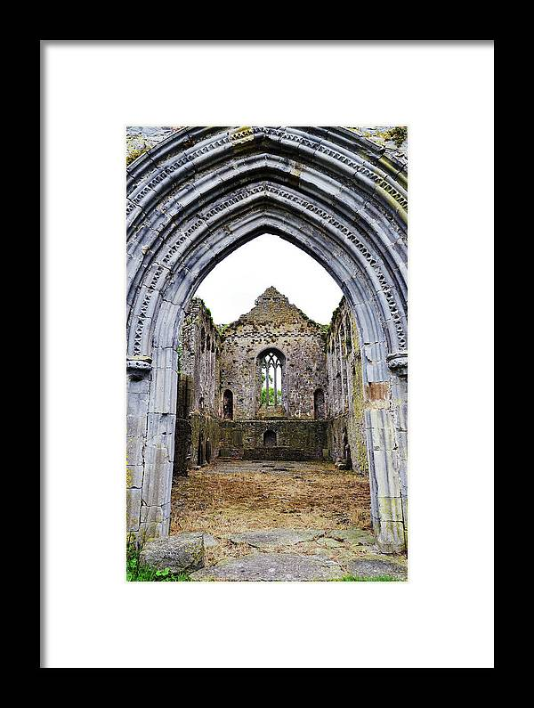 Athassel Framed Print featuring the photograph Athassel Priory Tipperary Ireland Medieval Ruins Decorative Arched Doorway Into Great Hall by Shawn O'Brien