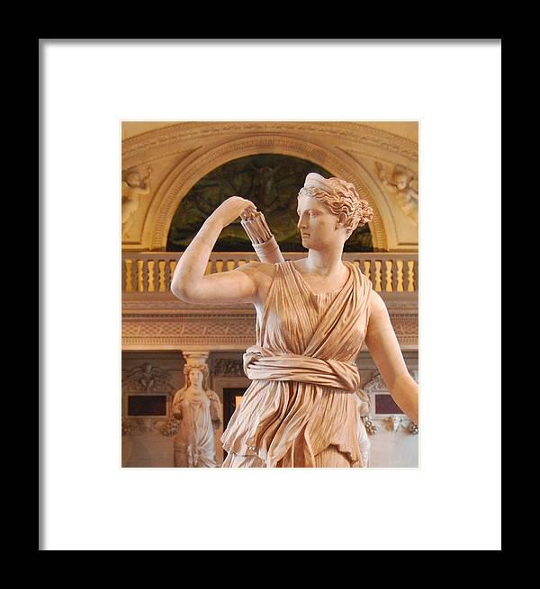 Athena Framed Print featuring the digital art Athena Statue by Nancy Bradley