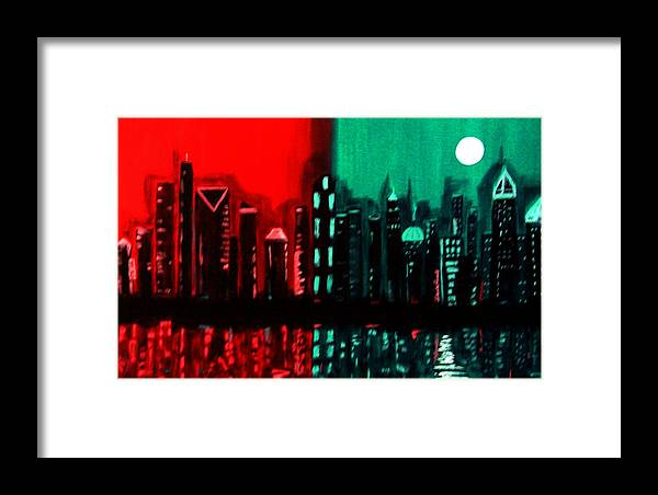 36 Inch Abstract Acrylic Nightscape Framed Print featuring the painting Atlanta by Linda Powell