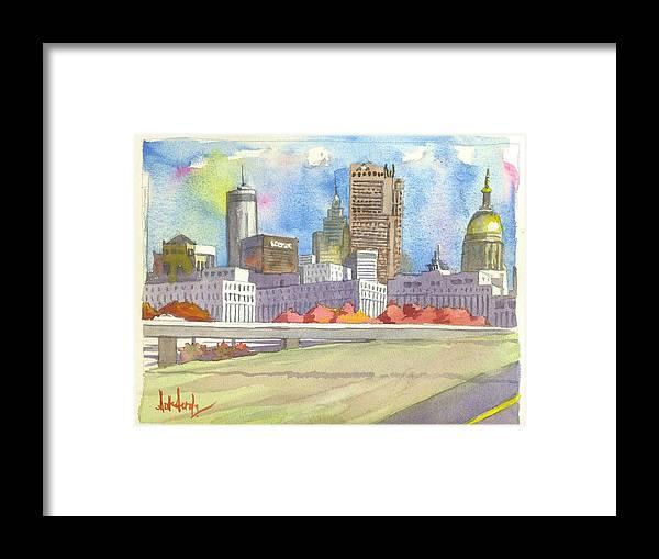 Atlanta Framed Print featuring the painting Atlanta Skyline Color by Scott Serafy