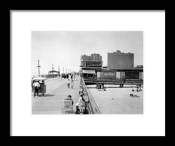 Atlantic City Boardwalk Framed Print featuring the photograph Atlantic City 1920 Boardwalk Promenade, Beach Sand, Signs Apollo Theatre, Mitzi by Zal Latzkovich