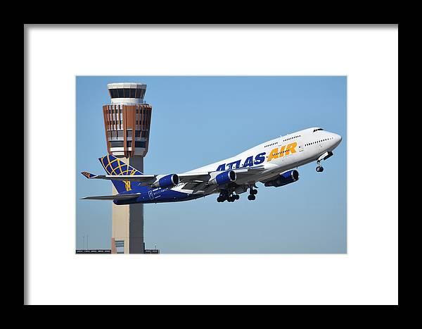 Airplane Framed Print featuring the photograph Atlas Air Boeing 747-446 N465mc Phoenix Sky Harbor January 12 2015 by Brian Lockett