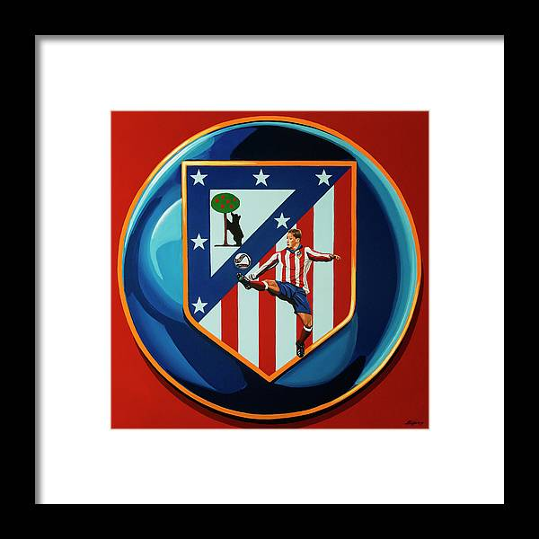 Atletico Madrid Framed Print featuring the painting Atletico Madrid Painting by Paul Meijering