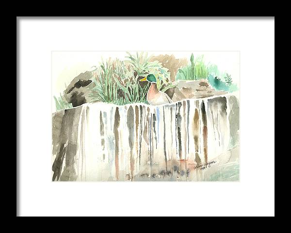 Waterfall Framed Print featuring the painting Atop The Waterfall by Arline Wagner