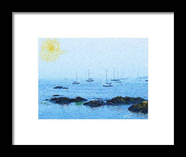 Sail Sailing Harbor Ocean Sea Marblehead Mass Bay Framed Print featuring the painting Attente Pour La Brise by Eddie Durrett
